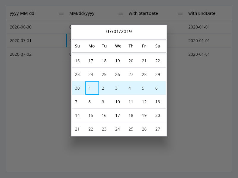 PlutoGrid Select Date